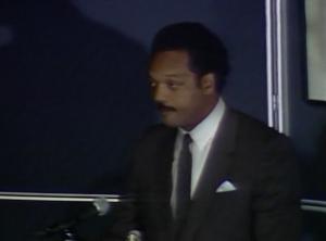Jesse Jackson speaking at Northeastern, 1987