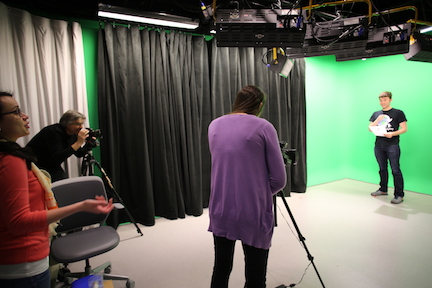 Students record video in the Snell Library Recording Studios