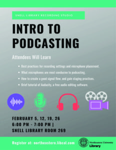 Flyer describing Intro to Podcasting workshops