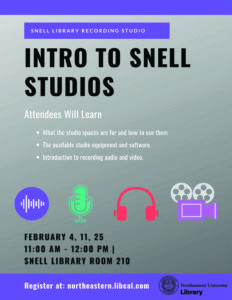 Flyer describing Intro to Snell Studios workshops