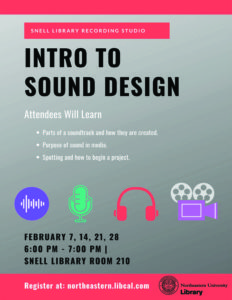 Flyer describing Intro to Sound Design workshops