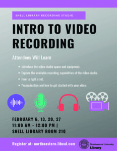 Flyer describing Intro to Video Recording workshops