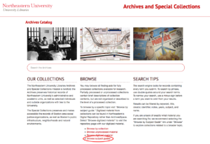 Screenshot of Archives Catalog homepage