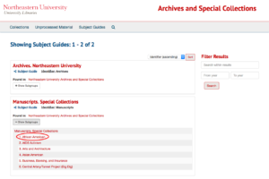 Screenshot of Archives Catalog - Subject Guides page, with African American subject heading highlighted