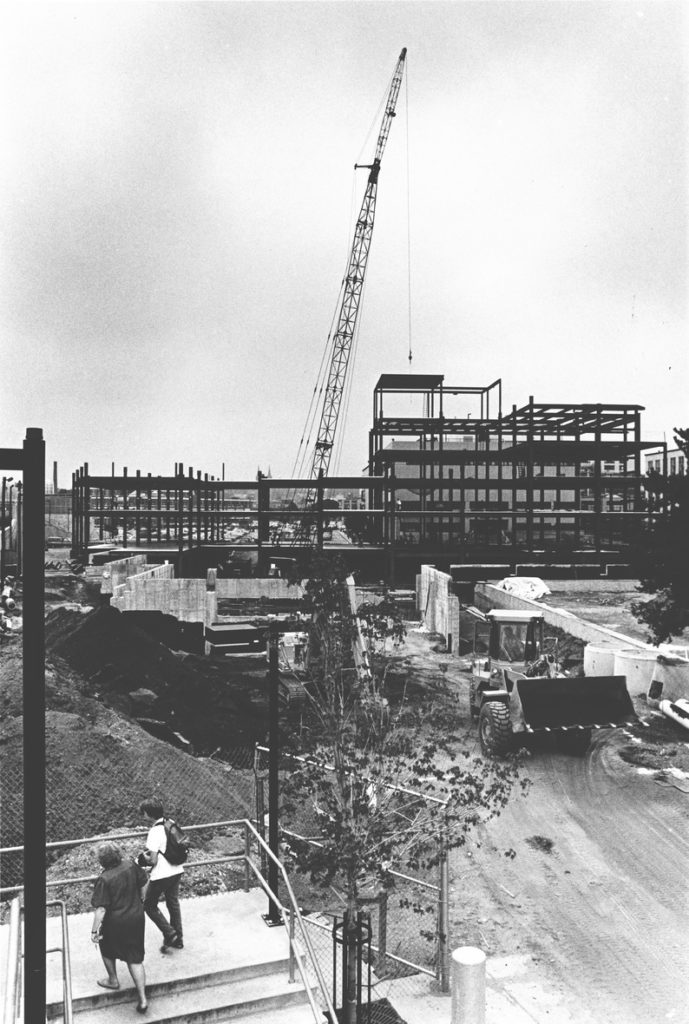 Construction of Snell Library, 1988