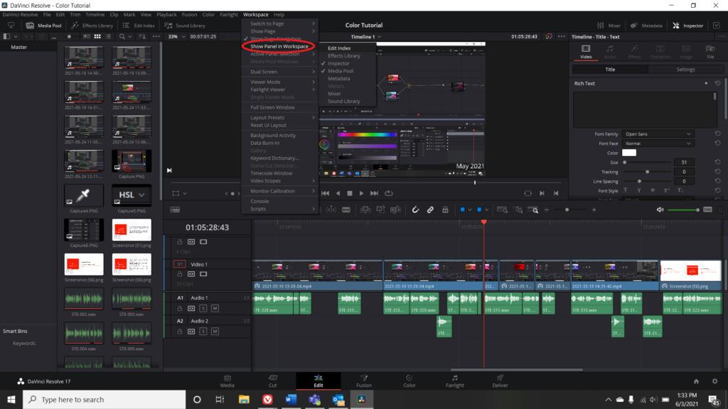 Screenshot of DaVinci Resolve