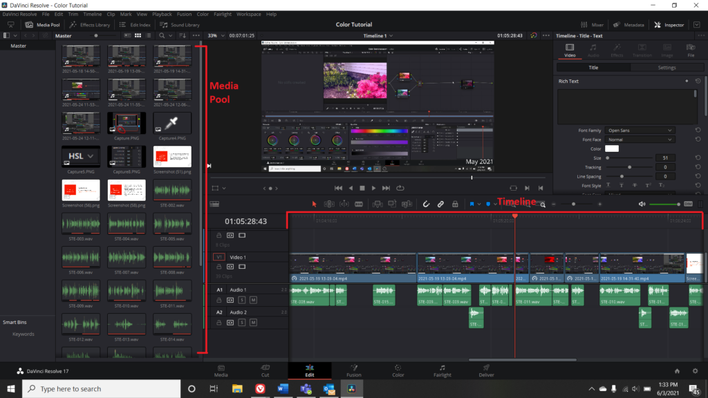 Screenshot of Edit Menu in DaVinci Resolve, with Media Pool and Timeline highlighted