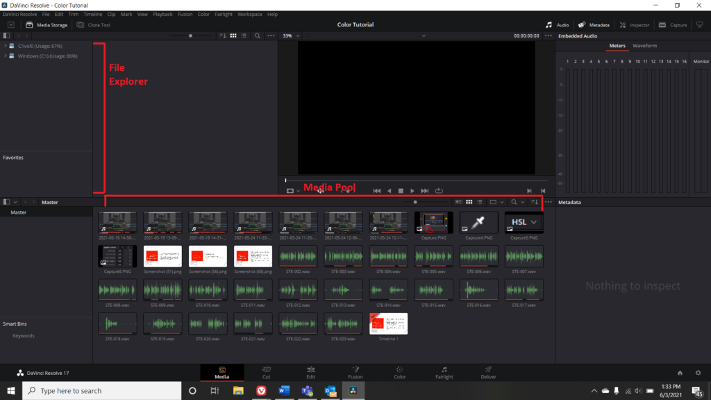 Screenshot of the Media Menu in DaVinci Resolve with File Explorer and Media Pool highlighted