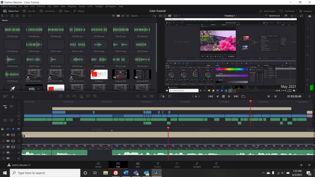Screenshot of the Cut Menu in DaVinci Resolve