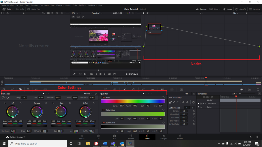 Screenshot of the Color Menu in DaVinci Resolve with Color Settings and Nodes highlighted