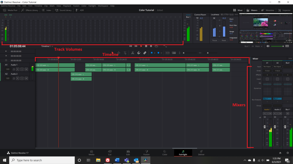 Screenshot of the Fairlight Menu in DaVinci Resolve with Track Volumes, Timeline, and Mixers highlighted