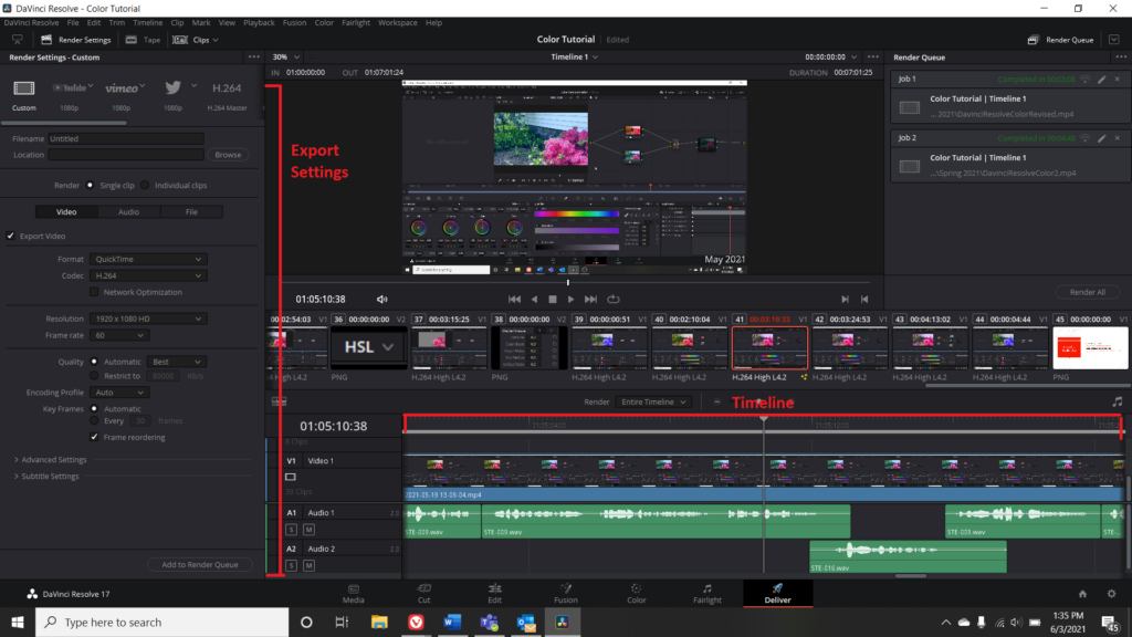 Screenshot of Deliver Menu in DaVinci Resolve with Export Settings and Timeline highlighted