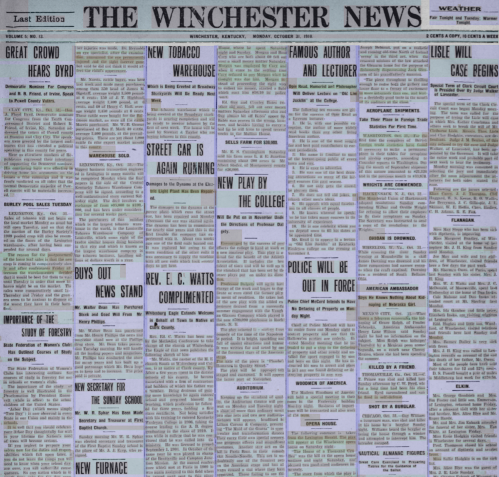 Screenshot of the front page of the Winchester News