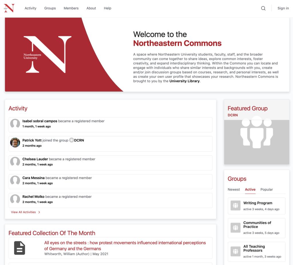 Screenshot of the Northeastern Commons website