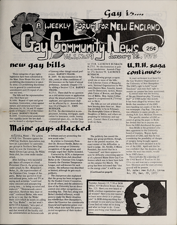 Scan of the January 12, 1974 issue of the Gay Community News. It includes the headlines: New Gay Bills; UNH Saga Continues; and Maine Gays Attacked